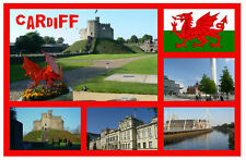 CARDIFF, WALES - SOUVENIR NOVELTY FRIDGE MAGNET - SIGHTS - GIFTS - FLAGS - NEW