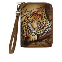 Anuschka Hand Painted Leather Passport Organizer Wallet African Leopard NWT