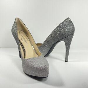 "Jessica Simpson Sparkle Women's Silver Heel Shoes Size 9 1/2"" M"
