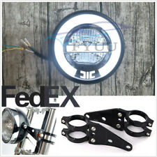 "6.8"" LED Retro ATV Headlight Halo Ring White High/Low Beam Headlamp+41mm Bracket"