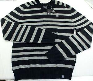 Buffalo David Bitton Men's V Neck Sweater XXL Black Grey Casual Fashion Designer