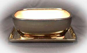 Bonsai Mame Schale 2234 _2 mit Untersetzer 16x12,5x7 Goldfarben Anzuchtschale
