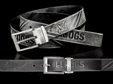 860018 CANTERBURY BULLDOGS NRL TEAM BLACK LEATHER BELT UP TO 145CM LONG
