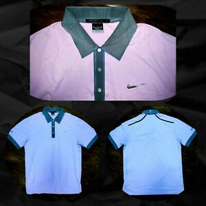 NIKE TIGER WOODS -ISLEWORTH -DRI-FIT GOLF POLO SHIRT -M- GRAY PINK POLY STRETCH