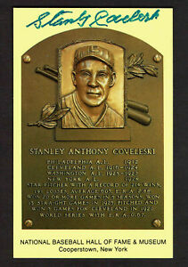 STANLEY COVELESKI  SIGNED Hall Fame Plaque HOF Yellow  Postcard Autographed  COA