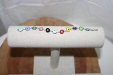 "Multi Color Solid Evil Eye Good Luck Bracelet Turkey 925 Sterling Silver 7"" Long"