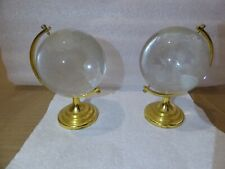 2x GLASS GLOBE & STAND PAPERWEIGHTS
