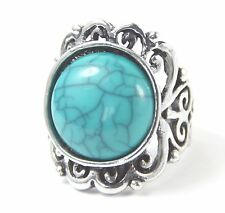 Men's or Women's Tibetan Silver Blue turquoise Ring UK Size Q