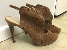 Women's Tory Burch Sz. 8 Elinor Suede Heels in Nutria Tan Shoe Sandal