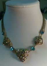 Betsey Johnson Three hearts statement necklace, in gold tone