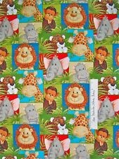 Fabric Traditions - Jungle Babies Patty Reed Safari Animal Patch Elephant YARD