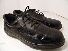 ECCO Black Leather Patent Strips Gore Tex Golf shoes Mens EU41 Sz 7.5