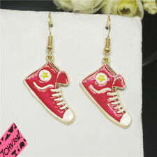 New Betsey Johnson Red Enamel Cute Canvas Shoes Crystal Stand Earrings Gift