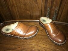 "EL NATURA LISTA Women's Clog Shoes Leather US 5 / EU 36 ""Frog Shock""  Brown"