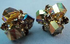 VOGUE VINTAGE 40'S GOLD AURORA BOREALIS AB CRYSTAL CLIP BACK EARRINGS