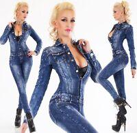 Originale Donna Manica Jeans Overall Pantaloni Tuta Tubo Skinny Denim Borchie