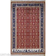 Yilong 5'x8' Persian Silk Rugs Hand Knotted Red Flowers Art Carpet Handmade 0200