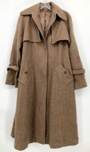 Vintage Wool Trach Coat Brown Beige Hidden Buttons Below Knee Length XL