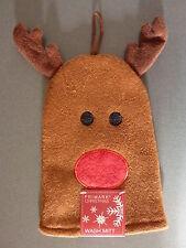 NEU Primark Waschlappen Elch Rentier Geweih Waschhandschuh Rote Nase Weihnachten