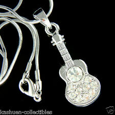w Swarovski Crystal Music Rock Folk Classical ~ACOUSTIC GUITAR~ Pendant Necklace