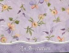 An Invitation Floral 8 Pack Party Cards Purple Orange Birthday Flower New Invite