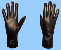 NEW WOMENS size 8 SHEARED RABBIT FUR LINED BLACK LAMBSKIN LEATHER GLOVES