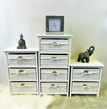 New White Shabby Chic Bedside Cabinet Tables Drawers with Wicker Storage Baskets