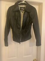 Wilsons Leather Maxima Black Leather Zip-Front Jacket Size S