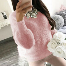 Women Winter Plush Blouse Sweater Tops Casual Long Sleeve Fluffy Pullover Shirt