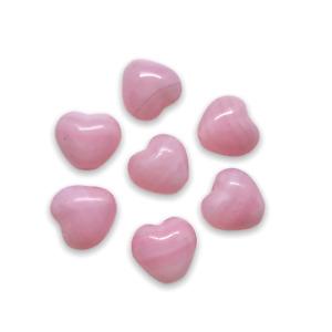 16x15mm Transparent Puffed Pink Heart Shaped Beads Jewelry Making Supplies 12 Pieces Glass Heart Beads Czech Glass Beads