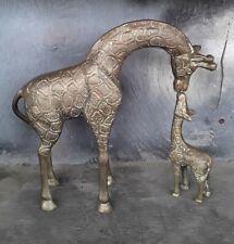 Giraffe And Baby Giraffe Bronze Statues