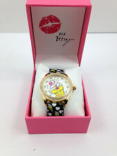 NWT Betsey Johnson ICE CREAM CONE Kitch Crystal Bezel Watch w/Box Free Shipping
