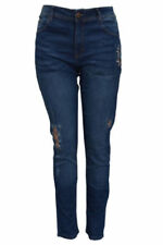 Cotton Ripped, Frayed Mid-Rise Jeans for Women