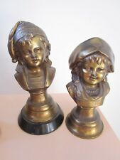 "CAST IRON PAIR OF SAILOR CHILDREN BUSTS 9 1/2"" GOLDEN FINISH"