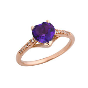 Genuine Amethyst & Diamond  Engagement and Proposal Ring in Rose Gold