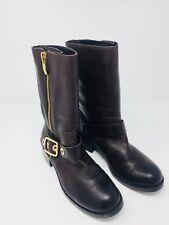 Vince Camuto Womens Walt Brown Leather Mid Calf Jeweled Zipper Moto Boots Sz 8B