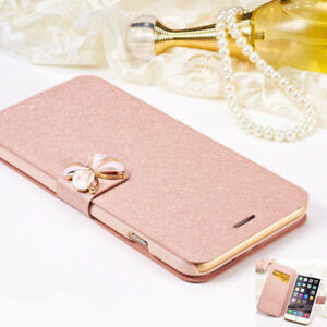For 6 6S 7 8 Plus X Case Cover Rose Gold Butterfly Flip Wallet Card Slot
