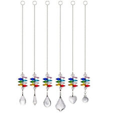 Set of 6, Crystal Prisms Suncatcher Curtain Hanging Pendant Home Wedding Decors