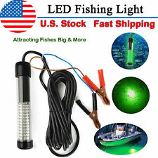 12V LED Underwater Submersible Fishing Light Night Crappie Shad Squid Boat Green