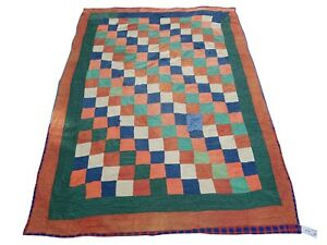 KH659A-Beautiful Vintage Handmade Patchwork Kantha Quilt Throw Reversible Ralli