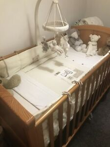 2 Long Reversible Cot Bumpers Teddy Bear & Robot Mothercare Fab Condition