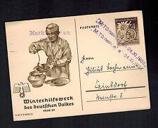 1938 Turnau Germany Sudetenland Provisional Postcard Cover Winter Hilf Werke