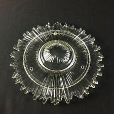 """Round Clear Glass Sunburst 3 Hole 9"""" Ceiling Light Fixture Vintage Art Deco"""