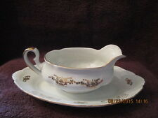 Vintage Czechoslovakian Gravy Boat w Tray Gold Tone Floral Exquisite!