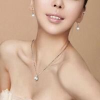 Fashion Women White Pearls Pendant Bib Choker Statement Silver Chain Necklace