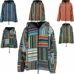 HIPPIE FESTIVAL LINED HOODED JACKET ZIP UP CARDIGAN BRUSHED COTTON PATCHWORK