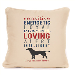 Personalised Labrador Attributes Print Cushion With Pad Gift For Dog Lover 18x18