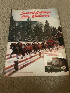 Vintage 1985 BUDWEISER BUD BEER CLYDESDALES HOLIDAY STEIN Poster Print Ad 1980s