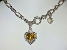 "Judith Ripka Large Sterling Silver Citrine Heart Enhancer and 18"" Necklace"