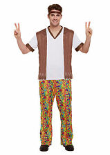 Adult GROOVY Costume 60s 70s Mens Hippy Hippie Fancy Dress Party Psychedelic